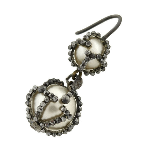 Victorian Natural Pearl & Cut Steel Earrings