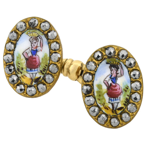 Victorian Cut Steel + Painted Porcelain Gilded Cufflinks