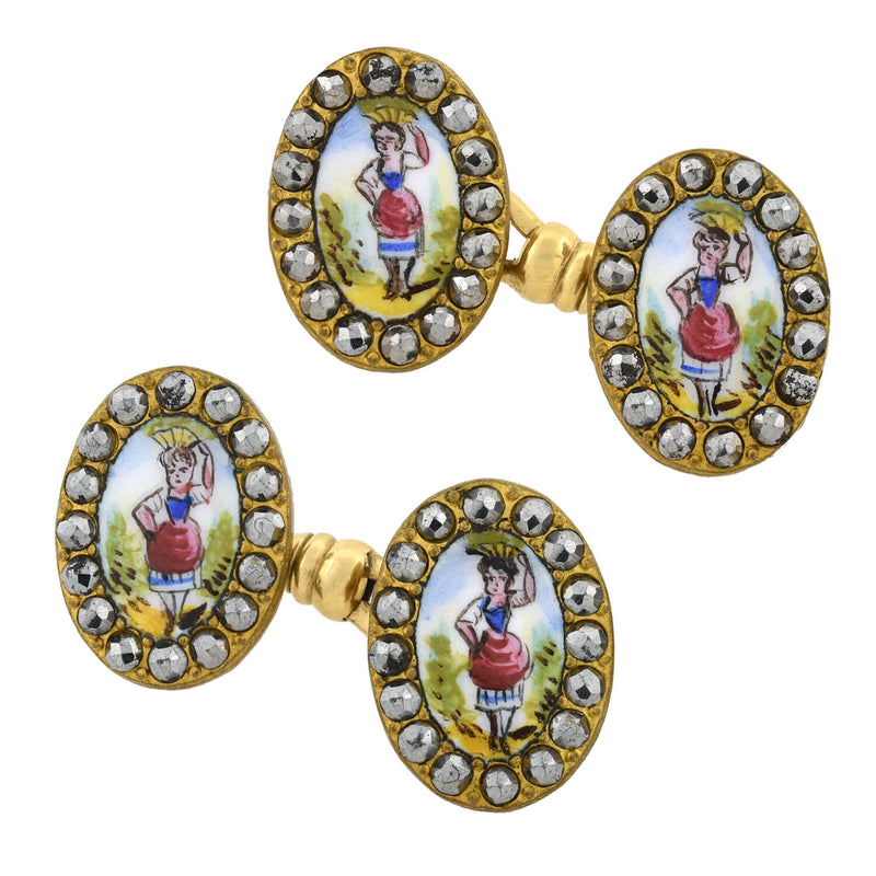 Edwardian 14kt/Platinum Diamond Cufflinks 0.50ctw