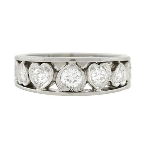 Retro Platinum & Diamond Cutout Hearts Ring