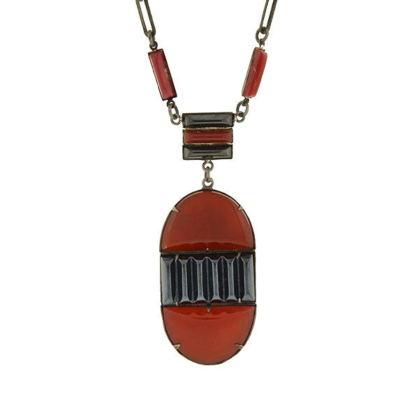"Art Deco Czech Glass Faux ""Onyx & Carnelian"" Necklace"