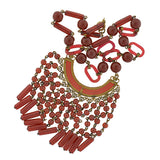 Art Deco Czechoslovakian Brass & Faux Carnelian Glass Necklace