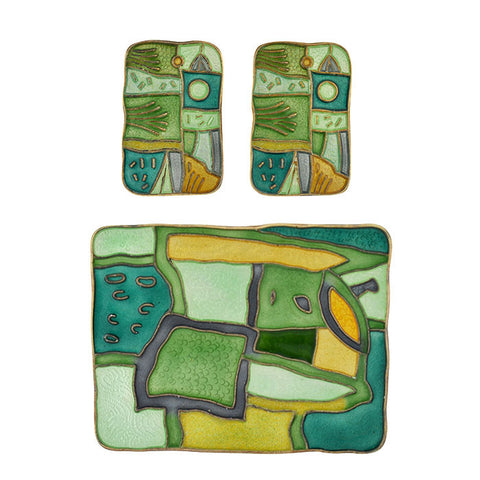 "DAVID ANDERSEN Enamel Four Seasons ""Summer"" Earring/Pin Set"