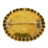 Early Victorian Indian Thewa 23kt Inlaid Gold & Green Glass Pin