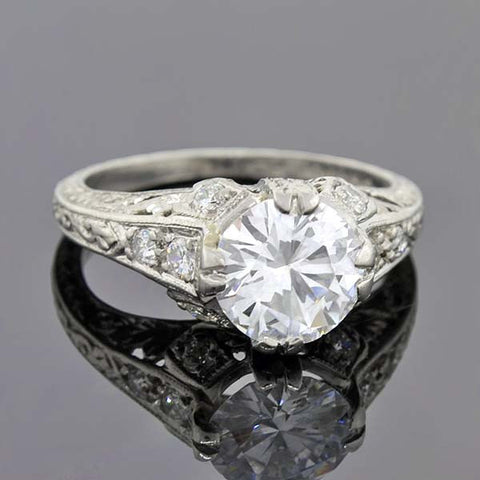 Art Deco Platinum Diamond Engagement Ring 1.32ct