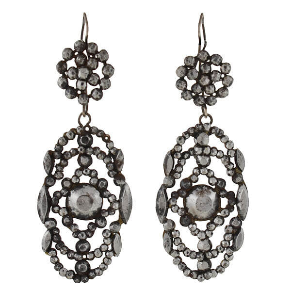 Victorian Cut Steel Large Dangling Earrings