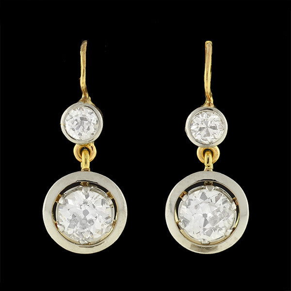 Edwardian 18kt/Platinum Mine Cut Diamond Drop Earrings 2.66ctw
