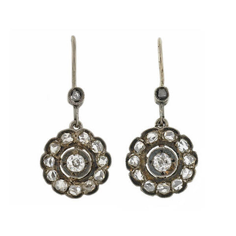 Victorian Sterling Rose Cut Diamond Earrings 0.80ctw