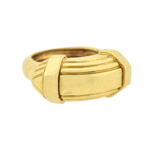 DAVID WEBB Estate 18kt Yellow Gold Stacked Chevron Ring 6.0dwt