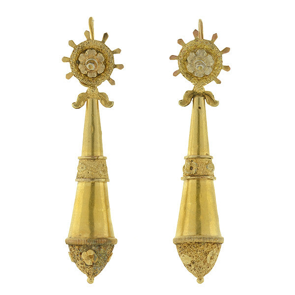 Victorian Gold-Filled Hanging Vessel Day/Night Earrings