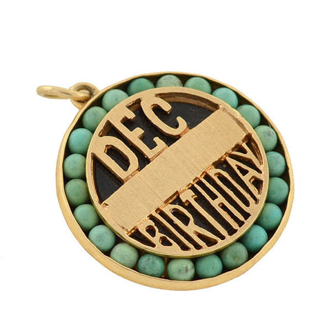 "LUCIEN PICCARD Retro 14kt Turquoise ""Dec Birthday"" Locket Charm"