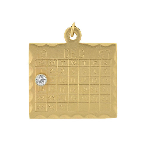 "Vintage 14kt Diamond ""December 8th"" Calendar Charm"
