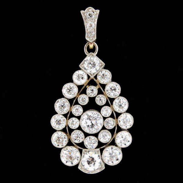 Edwardian Platinum 14kt Diamond Teardrop Pendant 3.50ct