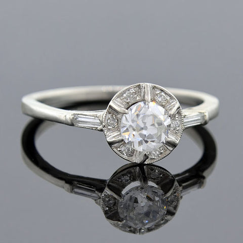 Edwardian Platinum Diamond Engagement Ring 0.45ct