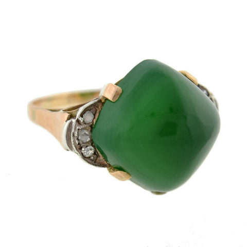 Art Deco Chrysoprase & Rose Cut Diamond Ring