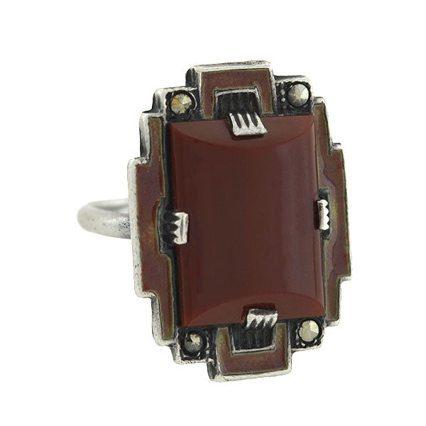 Art Deco Sterling Carnelian & Marcasite Enameled Ring