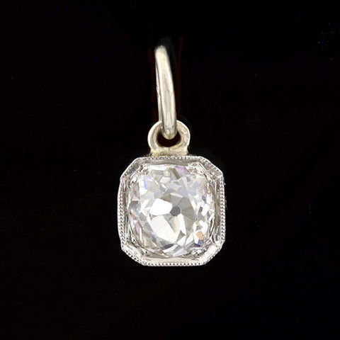 Art Deco Platinum Cushion Cut Diamond Pendant 0.60ctw