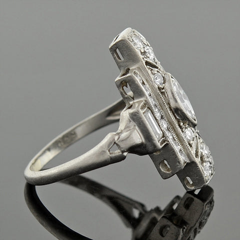 Late Art Deco Platinum Diamond Geometric Ring 0.80ctw