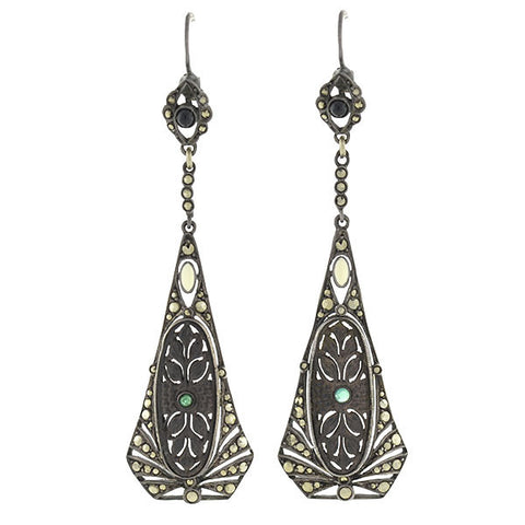 Art Deco Sterling, Wood, Emerald & Marcasite Earrings