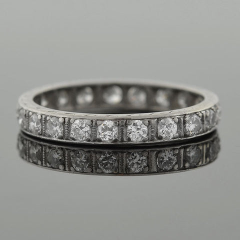 Art Deco Platinum & Full Cut Diamond Eternity Band .65ctw