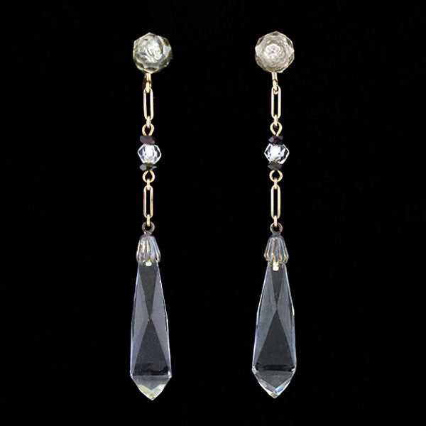 Late Art Deco 14kt Rock Quartz Crystal Earrings