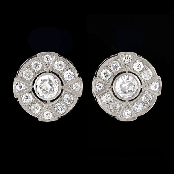 Art Deco Platinum & Diamond Cluster Stud Earrings 3.75ctw