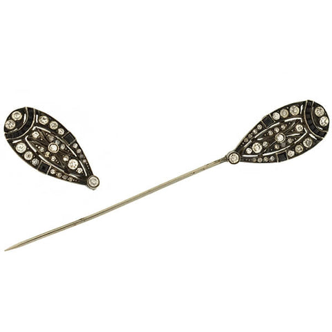 Art Deco Sterling French Paste Onyx Jabot Pin