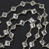 Art Deco German Silver Square Cut Crystal Necklace 55