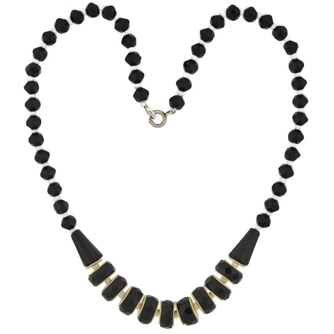 Art Deco Faceted Glass + Celluloid Black/White Bead Necklace