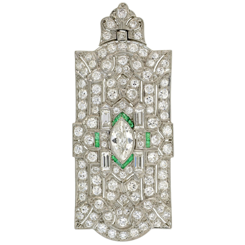 Art Deco Large Platinum Diamond + Emerald Pin/Pendant 0.75ct center