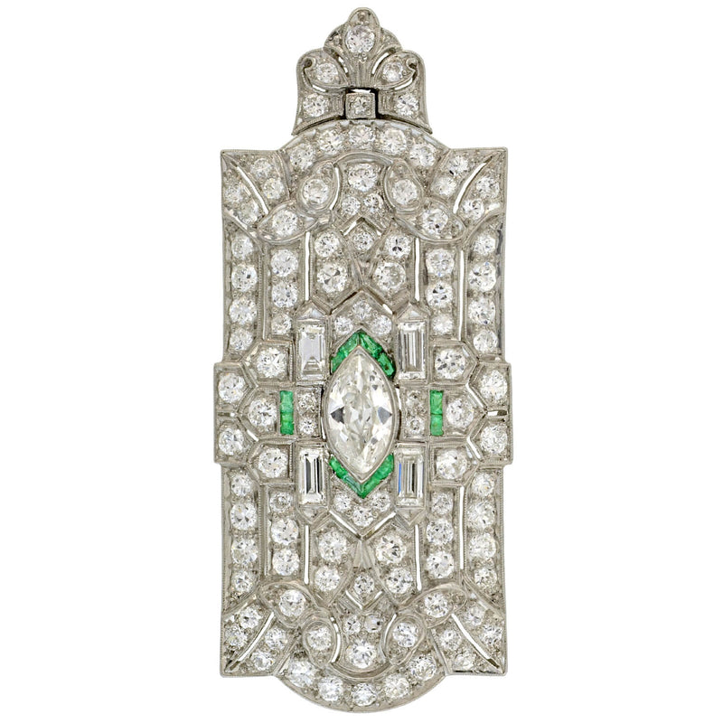 Retro Petite 14kt Green + White Enameled Urn Pendant