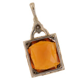 Art Deco Platinum/14kt Citrine + Diamond Enameled Pendant