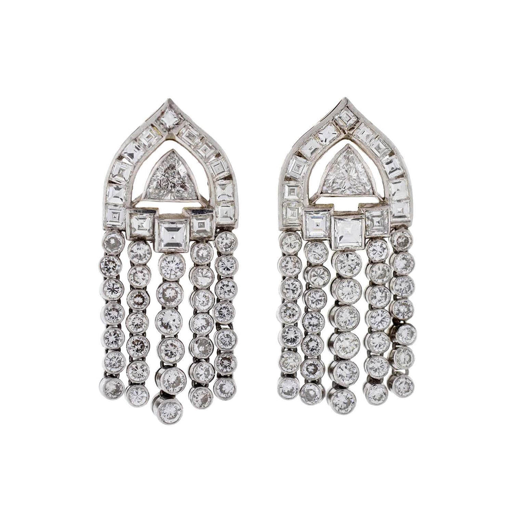 Late Art Deco Platinum Drippy Diamond Earrings 7.00ctw