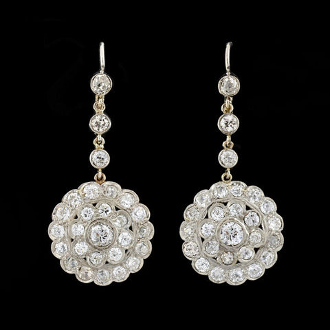 Late Art Deco Platinum Diamond Cluster Earrings 4.20ctw