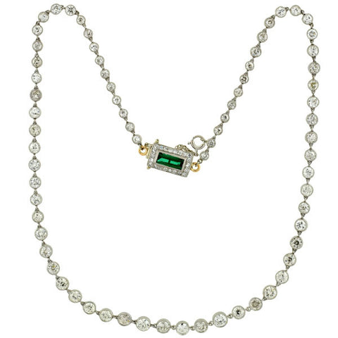 Art Deco Platinum Diamond Riviera Necklace 13.20ctw