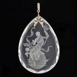 Art Deco Platinum Diamond & Pearl Reverse Carved Crystal Pendant