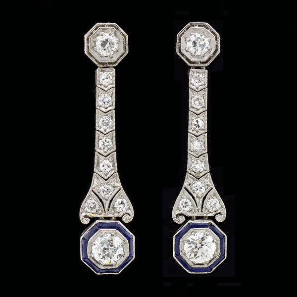 Art Deco Platinum Diamond & Sapphire Earrings 2ctw