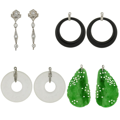 Art Deco Platinum Diamond, Jadeite, Onyx + Rock Crystal Convertible Earrings