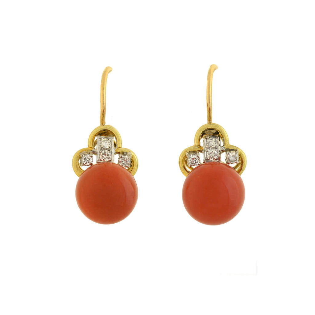 Art Deco 14kt Natural Oxblood Coral + Diamond Earrings