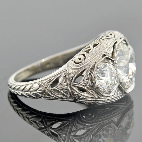 Art Deco Platinum Filigree 3-Stone Diamond Ring 2.55ctw