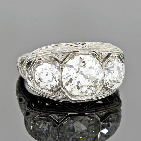 Edwardian 18kt & Platinum Diamond Engagement Ring 0.85ct