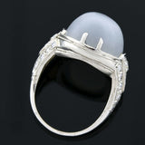Art Deco Platinum Moonstone & Diamond Ring