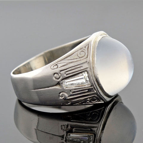 Art Deco Platinum Moonstone & Diamond Wide Band Ring