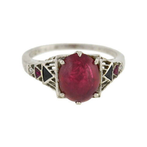 Art Deco Platinum No-Heat Ruby Cabochon Onyx & Diamond Ring 3.50+
