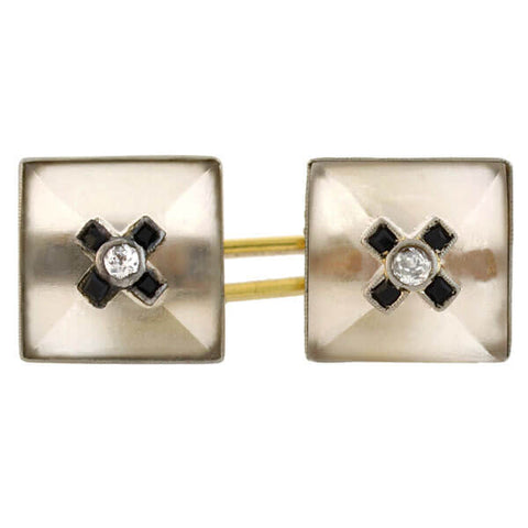 Art Deco 14kt Carved Rock Quartz Crystal, Onyx & Diamond Cufflinks