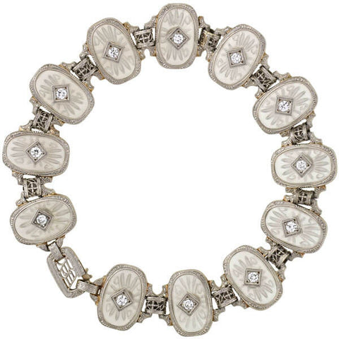 KREMENTZ Art Deco Platinum/14kt Reverse Carved Rock Crystal & Diamond Bracelet
