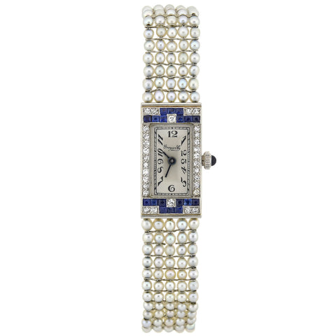 Grogan Co. by Henry Blank & Co. Platinum Diamond, Sapphire + Pearl Quartz Watch