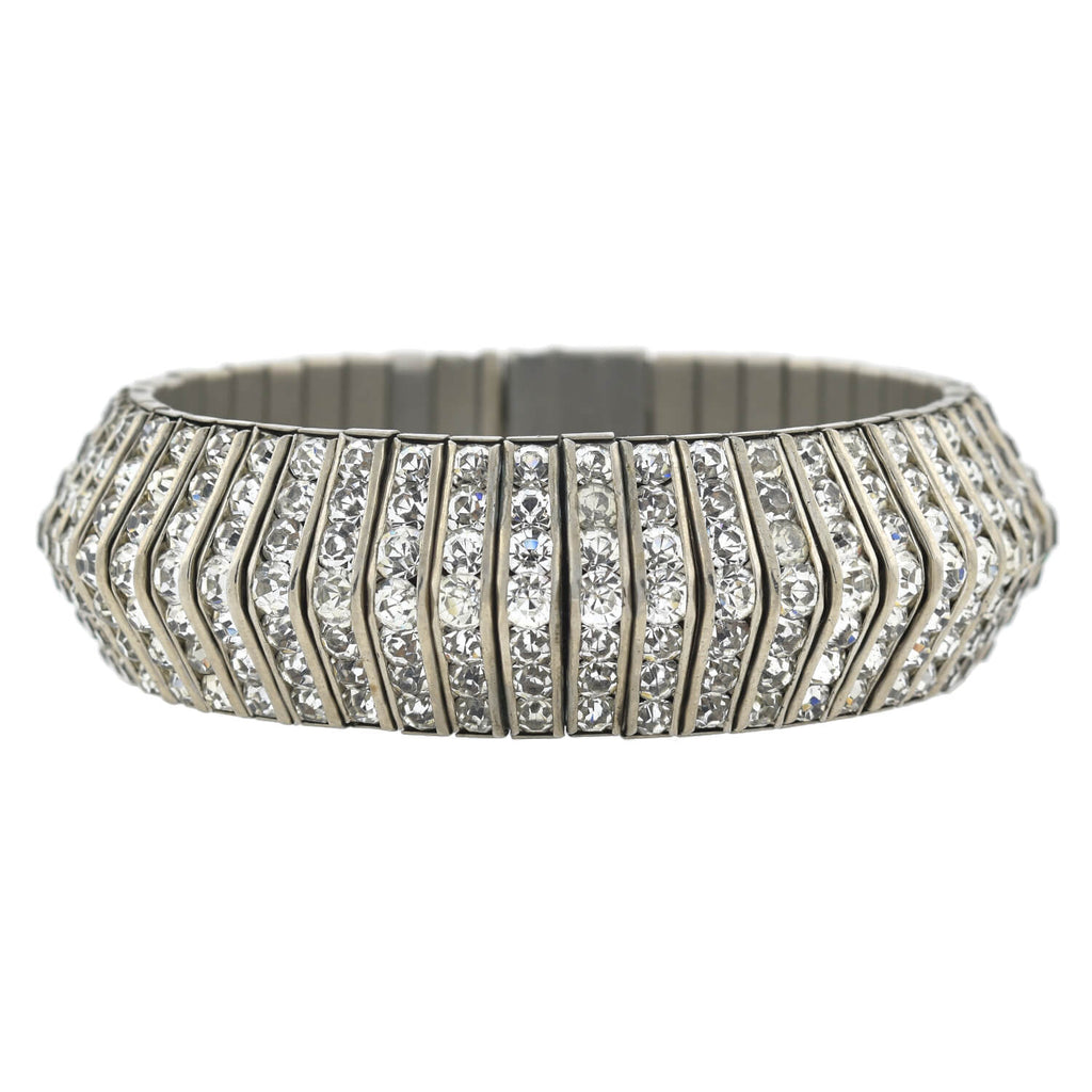 Art Deco Silver Plated Flexible Crystal Bracelet