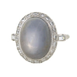 Art Deco Platinum Star Sapphire & Diamond Ring
