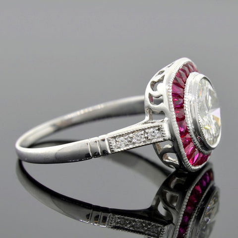 "Art Deco Style 18kt Diamond & Ruby ""Bullseye"" Ring 1.52ct"